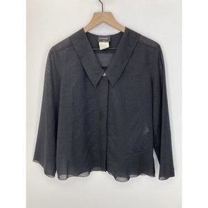 CHANEL Long Sleeve Solid Blouse Black Size XS